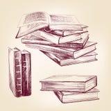 De uitstekende oude boeken overhandigen getrokken reeks Royalty-vrije Stock Foto