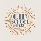 De uitstekende Oude school van het zonnestraal abstracte retro etiket stock illustratie