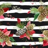 De uitstekende Poinsettia bloeien Achtergrond - Naadloos Kerstmispatroon Royalty-vrije Stock Afbeeldingen