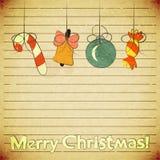 De uitstekende prentbriefkaar van Kerstmis met speelgoed Stock Foto