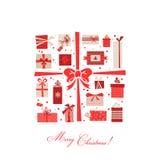 De uitstekende Prentbriefkaar van Kerstmisgiften Royalty-vrije Stock Afbeelding