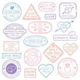 De uitstekende prentbriefkaar van de liefdebrief, de poststempels van de Valentijnskaartendag Zegels met harten of postverbinding vector illustratie