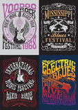 De uitstekende Reeks van het de T-shirtontwerp van de Rotsaffiche Stock Foto