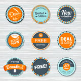 De uitstekende reeks van het Etikettenmalplaatje Vector retro kentekens Stock Foto