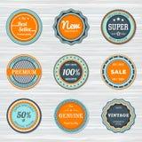 De uitstekende reeks van het Etikettenmalplaatje Vector retro kentekens Stock Afbeelding