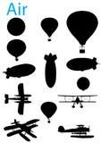 De uitstekende Reeks van het Silhouet van de Luchtvaart Stock Afbeeldingen