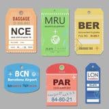 De uitstekende reisbagage etiketteert vector Retro bagagelabelillustratie stock illustratie