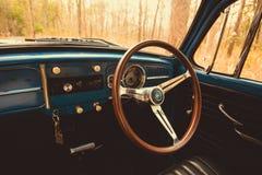 de uitstekende retro blauwe kleur van autovolkswagen in Forest Leaves Brown Royalty-vrije Stock Foto's