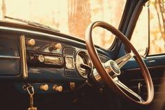 de uitstekende retro blauwe kleur van autovolkswagen in Forest Leaves Brown Stock Afbeelding