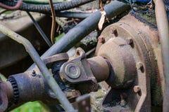 de uitstekende retro tractor roestige details sluiten omhoog stock afbeeldingen
