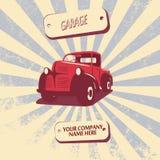 De uitstekende retro vectorillustratie van de pick-upauto Royalty-vrije Stock Fotografie