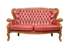 De uitstekende rode bank van de luxe Royalty-vrije Stock Foto's