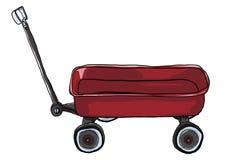 De uitstekende rode illustratie van Trekkrachtmini wagon Stock Fotografie