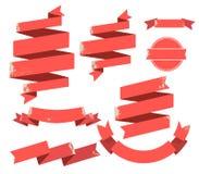 De uitstekende rode vlakke Inzameling van de Lintenbanner met verkoopmarkering Royalty-vrije Stock Afbeelding