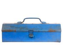 De uitstekende roestige blauwe geïsoleerde doos van het staalhulpmiddel Royalty-vrije Stock Fotografie