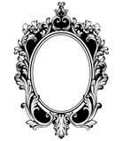 De uitstekende ronde Vector van het kaderdecor Barokke antiquiteit gesierde spiegeltoebehoren Intricateddecoratie stock illustratie