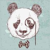 De uitstekende schetsillustratie van panda draagt stock illustratie