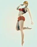 De uitstekende speld-Omhooggaande Illustratie van de Stijl van het Meisje van de Bikini stock illustratie