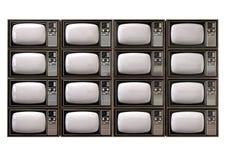 De uitstekende Stapel van TV isoleerde Voorzijde Stock Afbeeldingen