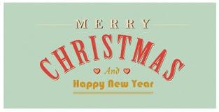 De uitstekende tekst van het Kerstmisteken Vector retro Kerstkaart Stock Fotografie