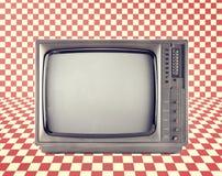 De uitstekende televisie isoleert op Rood schaakbordpatroon, stock foto's