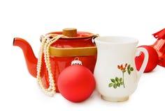 De uitstekende theepot van Kerstmis met het knippen van weg Royalty-vrije Stock Afbeeldingen
