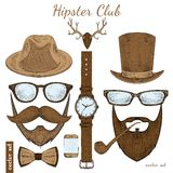 De uitstekende toebehoren van de hipsterclub vector illustratie