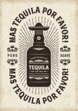 De uitstekende Typografie van Mas Tequila Por Favor More Tequila tevreden stock illustratie