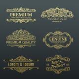 De uitstekende Vector Gouden Kaders van Bannersetiketten Stock Fotografie