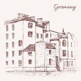 De uitstekende vector oude huizen van de schetstegel, Europa, Historische schetsmatige de lijnkunst van de de bouwreis, retro gru royalty-vrije illustratie