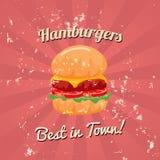 De uitstekende Vector van de Hamburgeraffiche Royalty-vrije Stock Foto's