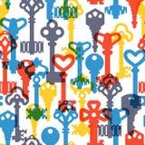 De uitstekende vector van het sleutels naadloze patroon Stock Afbeelding