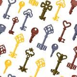 De uitstekende vector van het sleutels naadloze patroon Royalty-vrije Stock Fotografie
