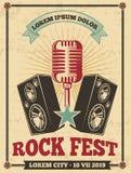 De uitstekende vectoraffiche van het rotsfestival Rots - en - retro achtergrond van het broodjesoverleg royalty-vrije illustratie