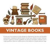De uitstekende vectoraffiche van literatuur oude boeken van van de de inktpen van de schrijversschacht de schrijfmachine vectorpi vector illustratie