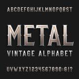 De uitstekende vectordoopvont van het stijlalfabet Metaaleffect letters en getallen Stock Foto