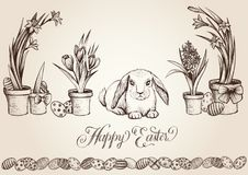 De uitstekende vectorkaart van Pasen De jager die van konijntjeseieren verborgen eieren tussen de lentebloemen zoeken Stock Foto