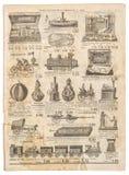 De uitstekende victorian Antiquiteit die van de speelgoedinzameling Oude engrav adverteren royalty-vrije stock afbeelding