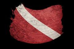 De uitstekende vlag van de stijlscuba-uitrusting Duiker onderaan vlag De slag van de borstel vector illustratie
