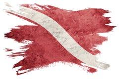 De uitstekende vlag van de stijlscuba-uitrusting Duiker onderaan vlag De slag van de borstel royalty-vrije illustratie