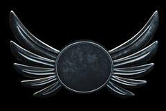 De uitstekende Vleugels van het embleemmetaal op zwarte achtergrond 3d geef terug stock illustratie