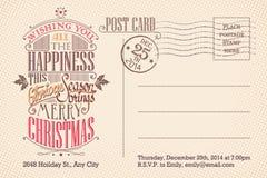 De uitstekende vrolijke prentbriefkaar van de Kerstmisvakantie Royalty-vrije Stock Fotografie