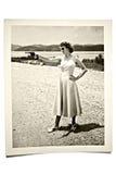 De uitstekende Vrouw van de Foto met Kanon Royalty-vrije Stock Afbeeldingen