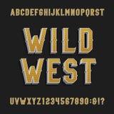 De uitstekende wilde vectordoopvont van het het westenalfabet 3D effect letters en getallen Stock Foto's