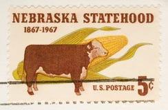 De uitstekende Zegel Nebraska Statehood van 1967 Stock Foto