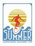 De uitstekende zegel van de surfermens van het strand van Californië Royalty-vrije Stock Foto