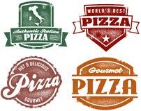De uitstekende Zegels van de Pizza van de Stijl Stock Foto