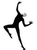 De uitvoerder bootst met masker dansende danser na Stock Foto's