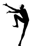 De uitvoerder bootst met masker dansende danser na Stock Fotografie