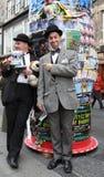 De uitvoerders in Edinburgh omzomen Festival 2014 Stock Foto's